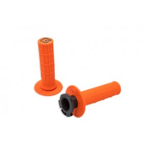 TORC1 RACING DEFY LOCK ON MX GRIPS HALF WAFFLE ORANGE (2 STROKE THROTTLE CAMS)