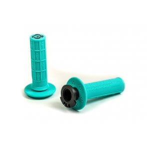 TORC1 RACING DEFY LOCK ON MX GRIPS HALF WAFFLE MINT GREEN (4 STROKE THROTTLE CAMS)